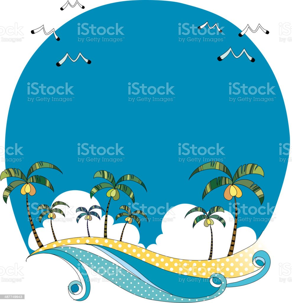 The view of waterfront vector art illustration