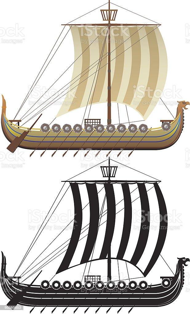 The Viking ship. Knorre vector art illustration