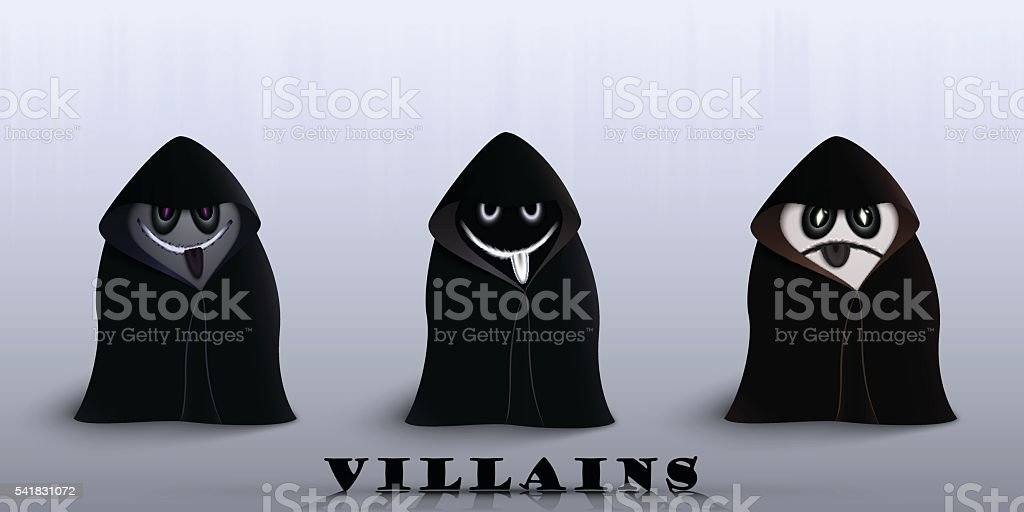 the villains in capes vector art illustration