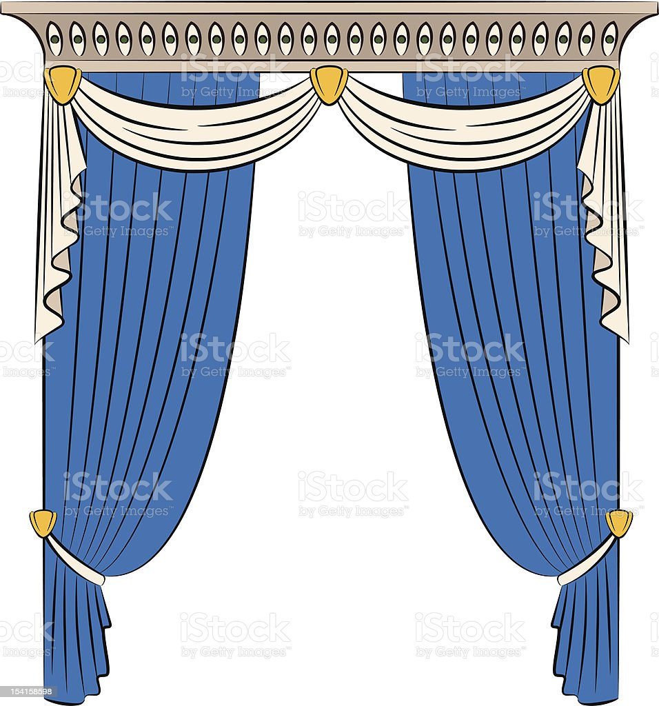 The vintage blue curtain. Vector royalty-free stock vector art