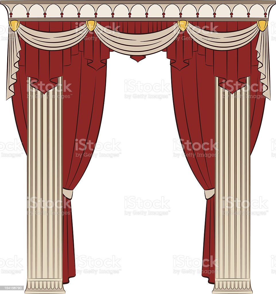 The vintage curtain with columns. Vector royalty-free stock vector art