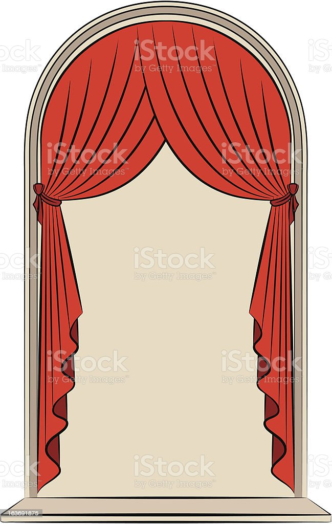 The vintage red curtain. Vector royalty-free stock vector art