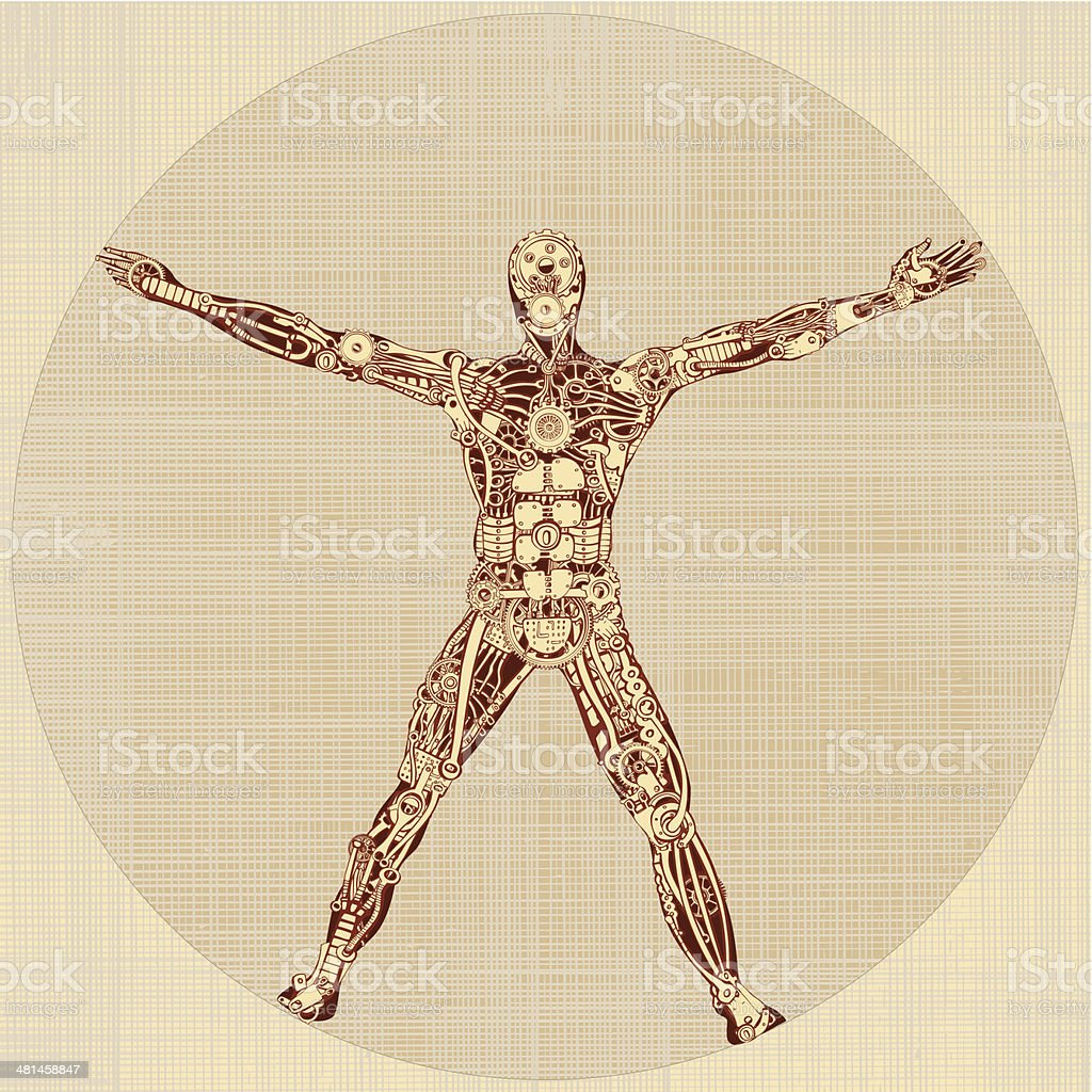 The Vitruvian Man. Remake of Leonardo da Vinci's drawing. v1.0 royalty-free stock vector art