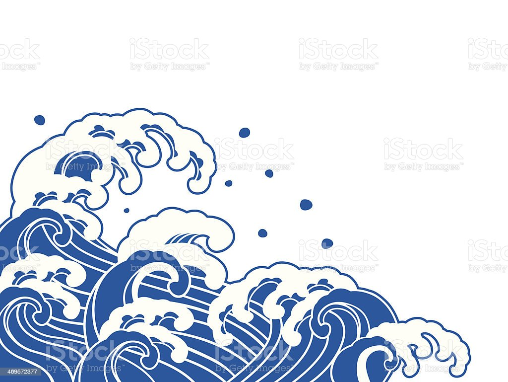 The wave of a Japanese painting vector art illustration