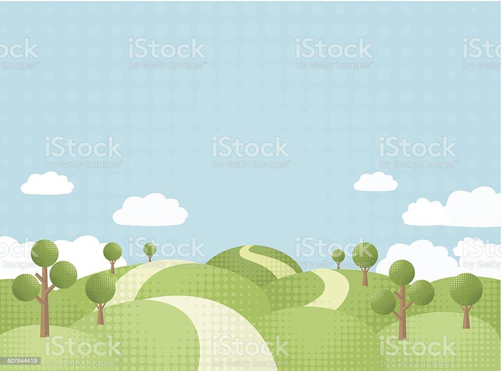 The Way Between Rolling Hills vector art illustration
