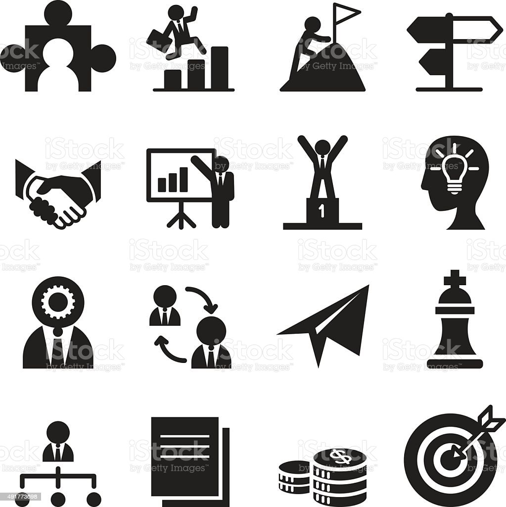 The way to success icons set vector art illustration