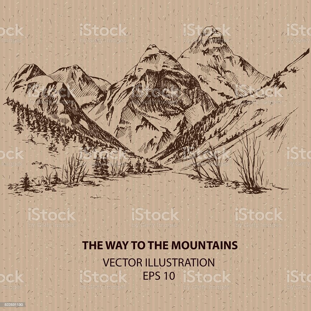 The way to the mountains vector art illustration