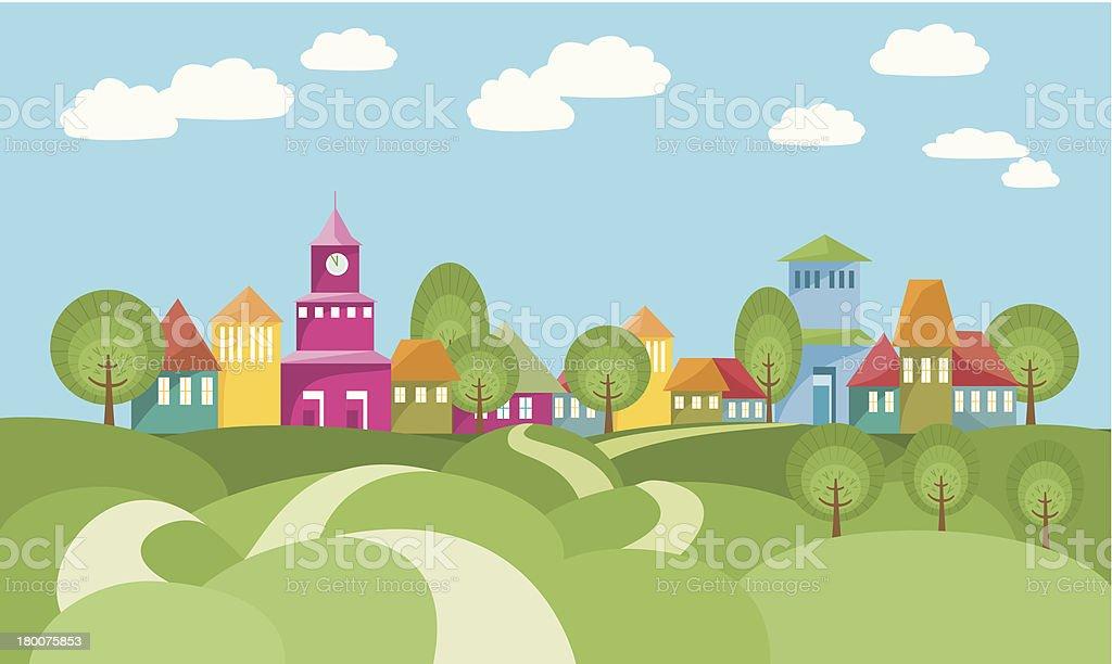 The Way To Village Between Rolling Hills vector art illustration