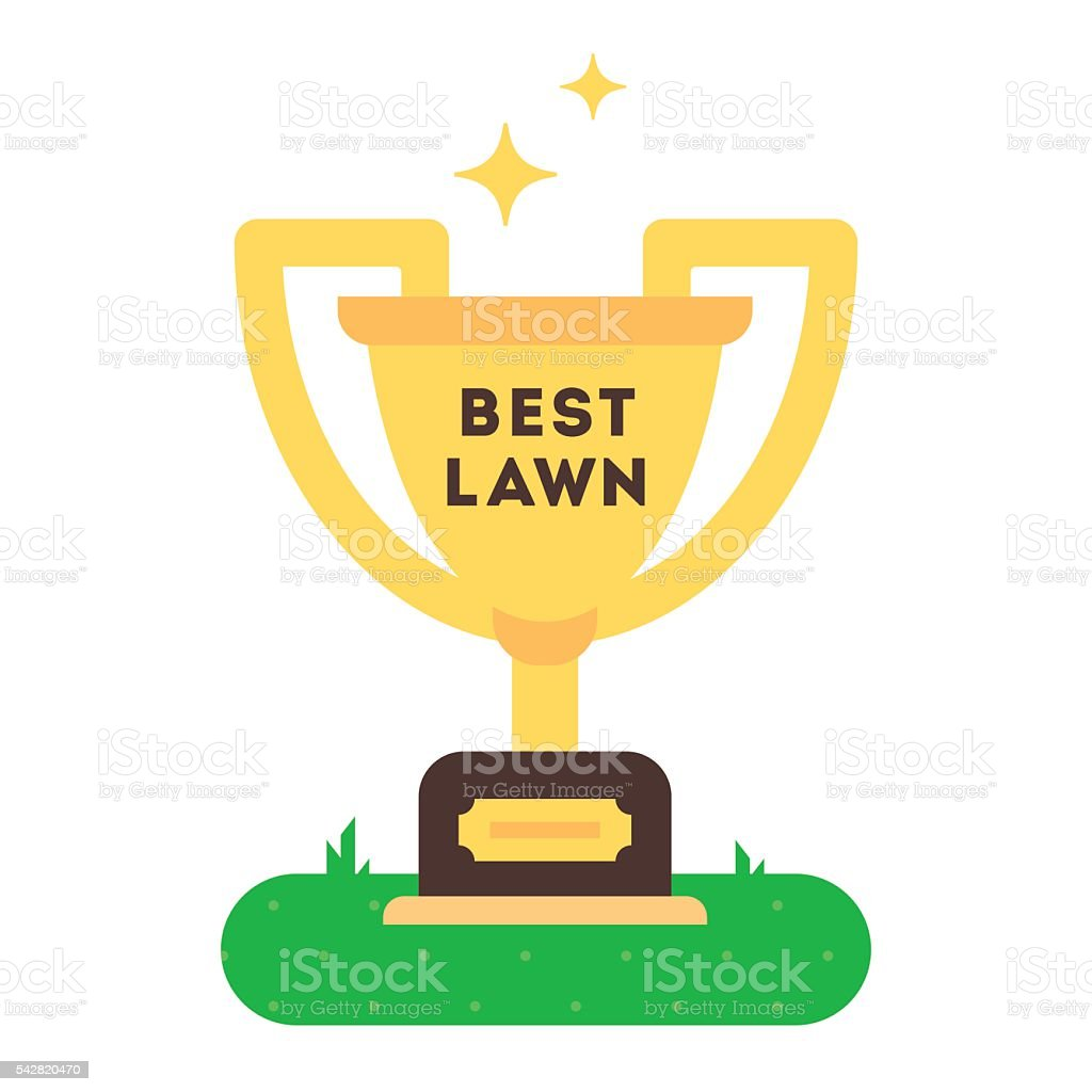 The winner cup for best green grass lawn producer. vector art illustration
