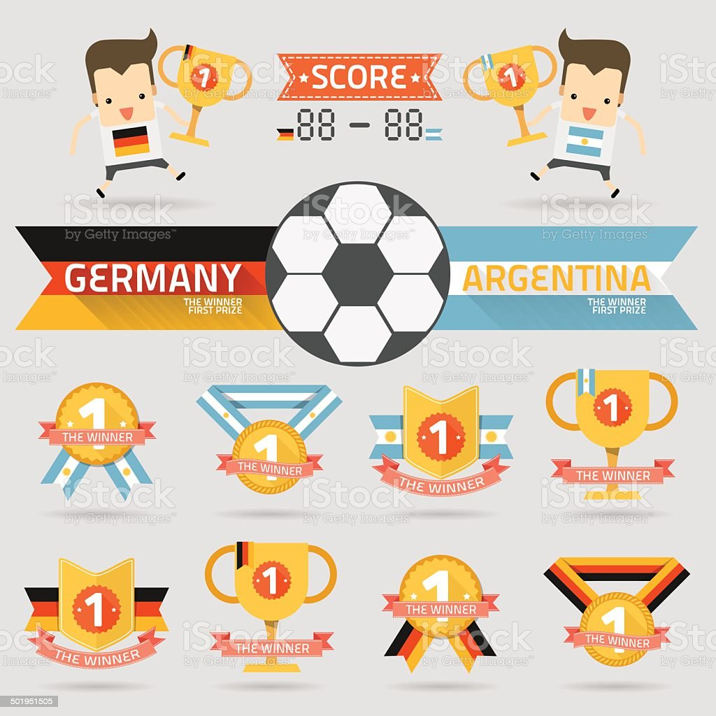 the winner first prize with germany and argentina football team royalty-free stock vector art
