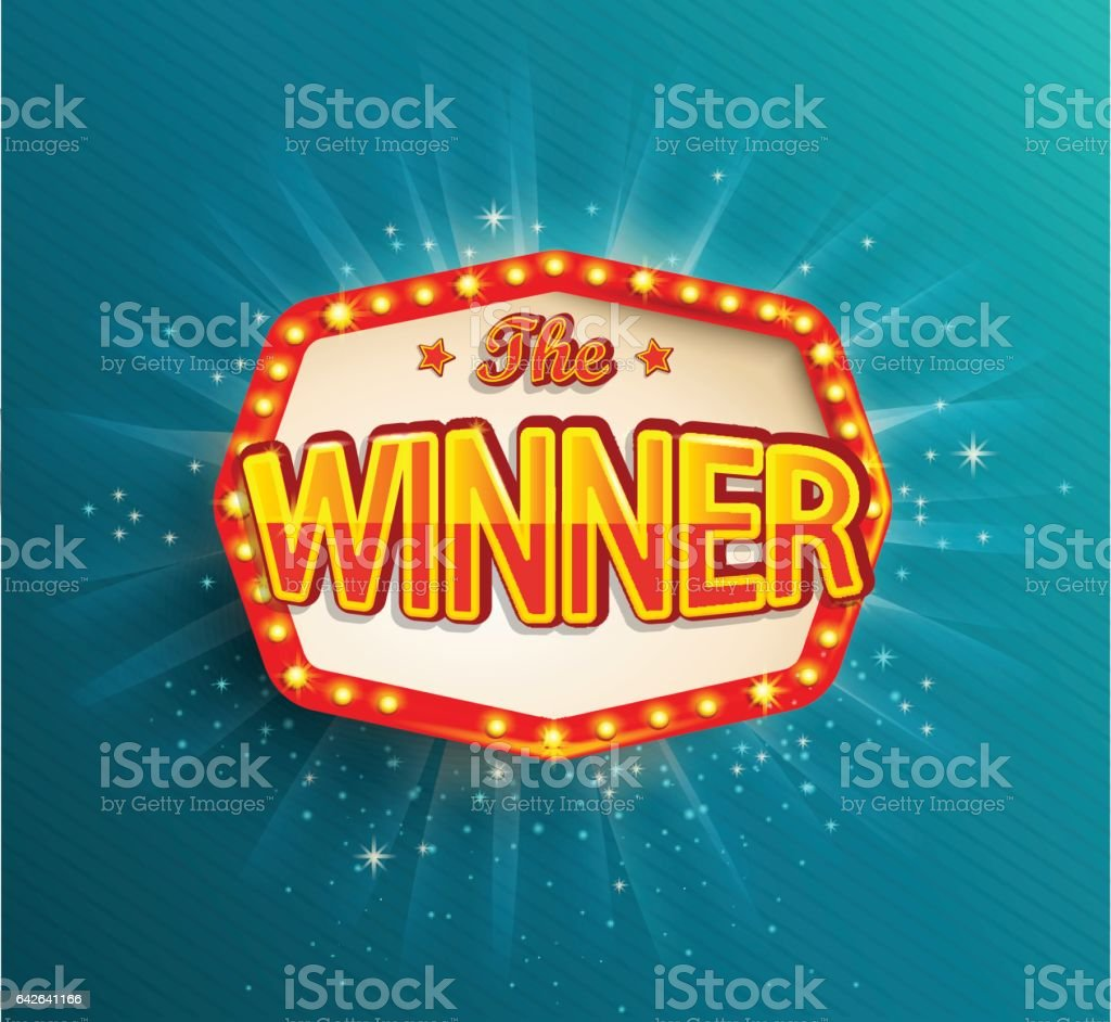 The winner retro banner with glowing lamps. vector art illustration