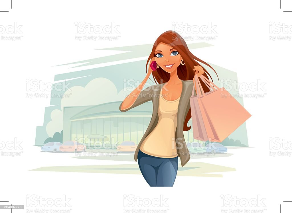 The Woman Shopper vector art illustration