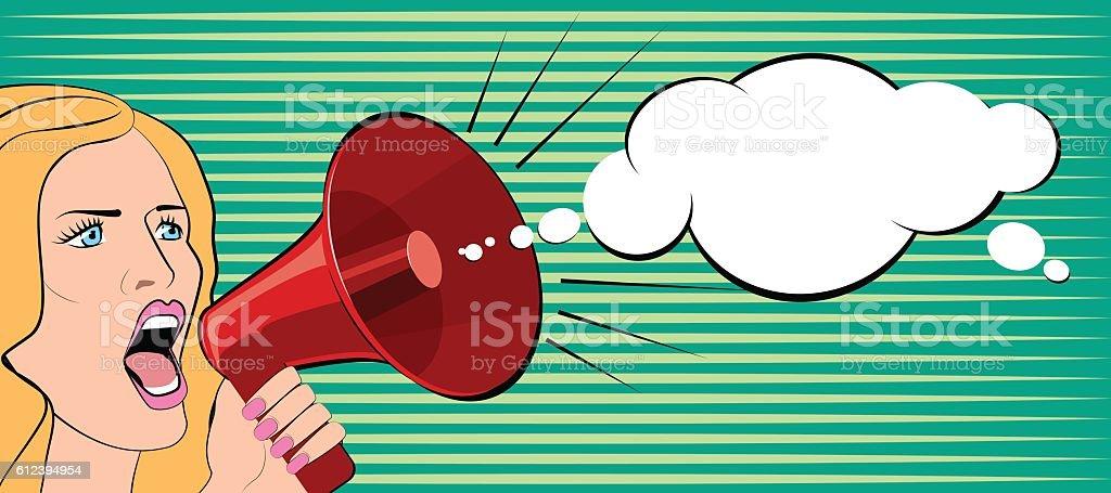 The woman speaks in a megaphone. Vector illustration vector art illustration