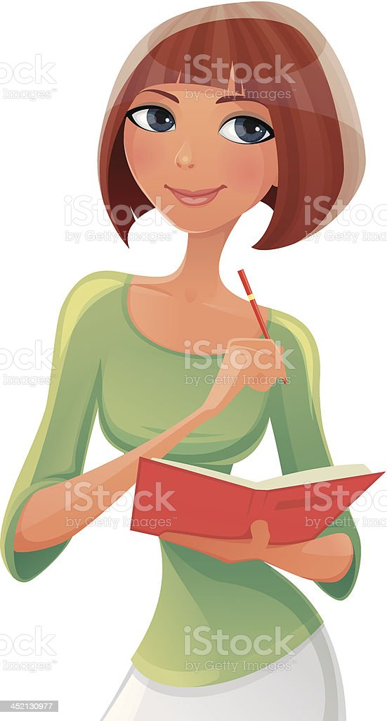 The Woman with diary on a white background royalty-free stock vector art