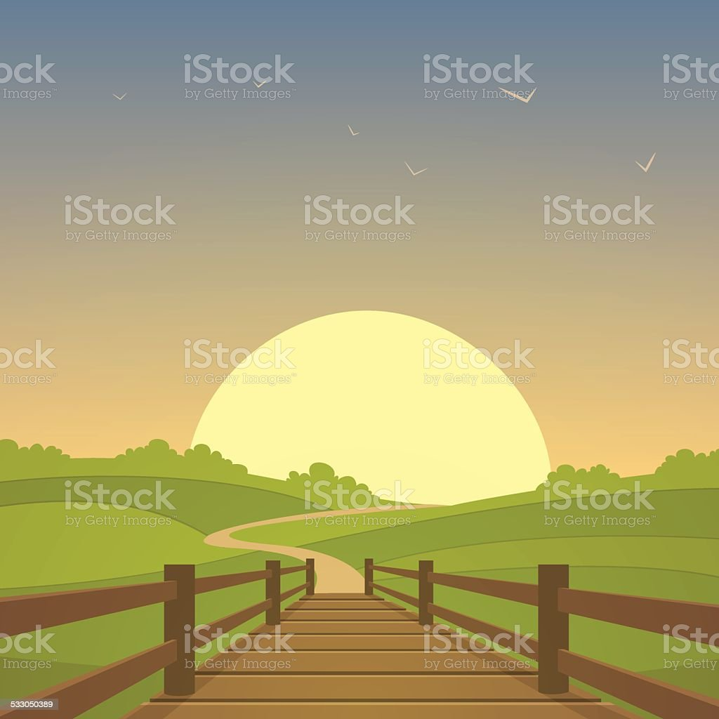 The wooden bridge vector art illustration