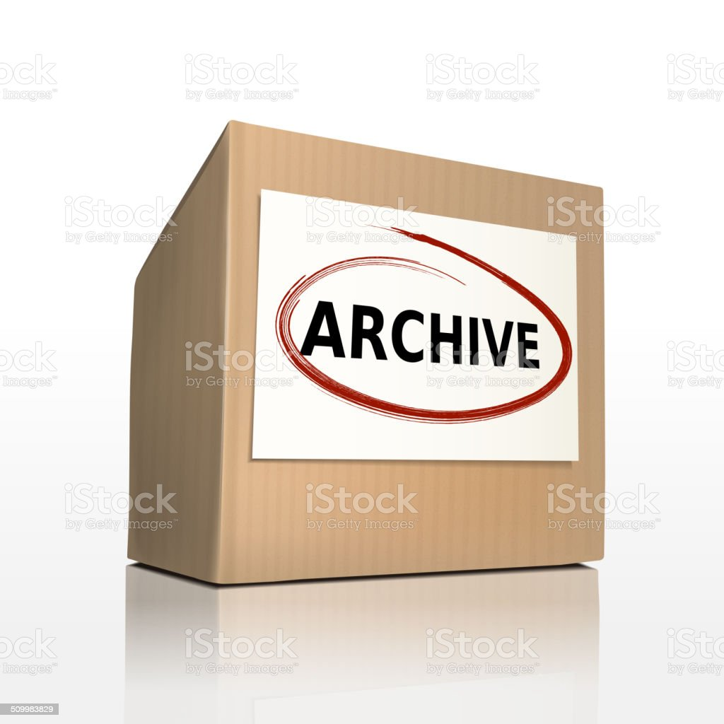 the word archive on a paper box vector art illustration