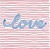 The word love from rope on striped background.