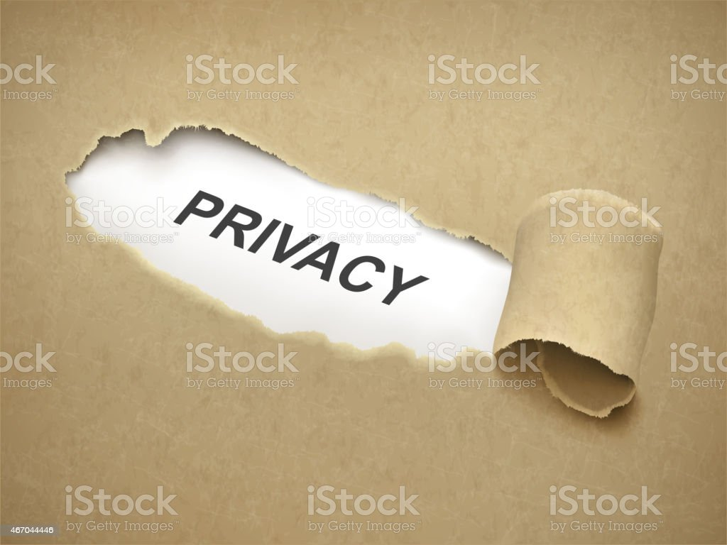 the word privacy behind torn paper vector art illustration