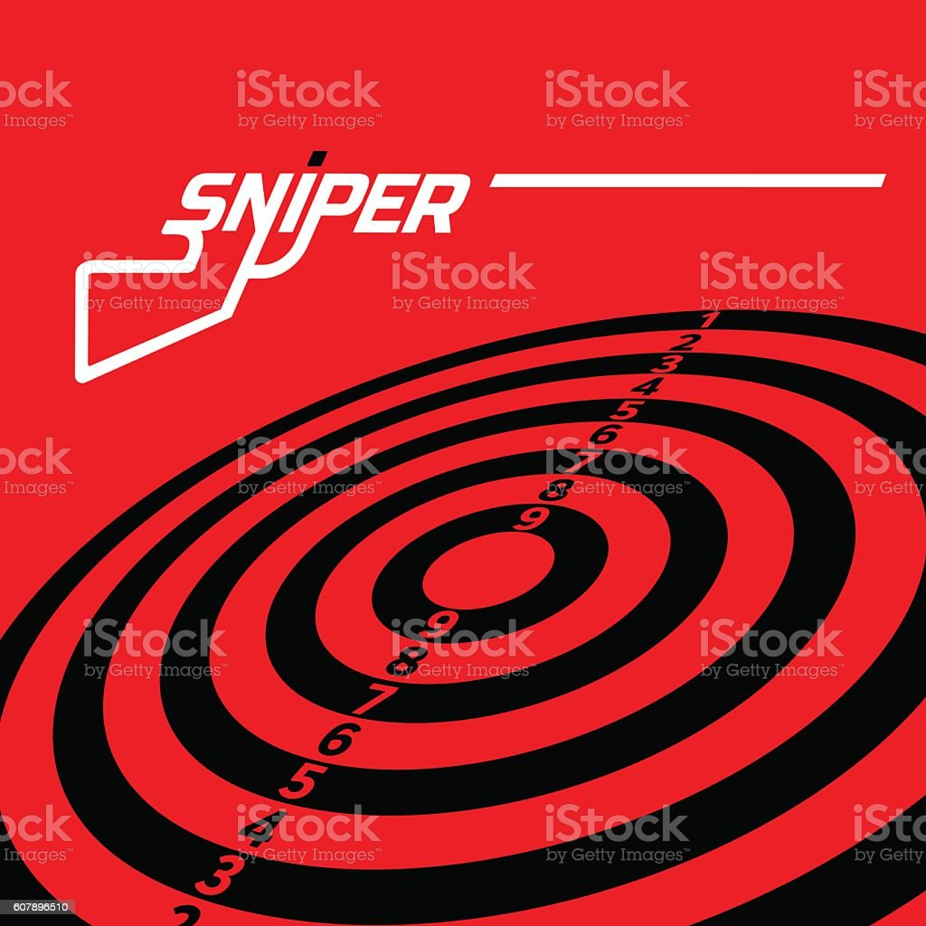 The word sniper with a target vector art illustration