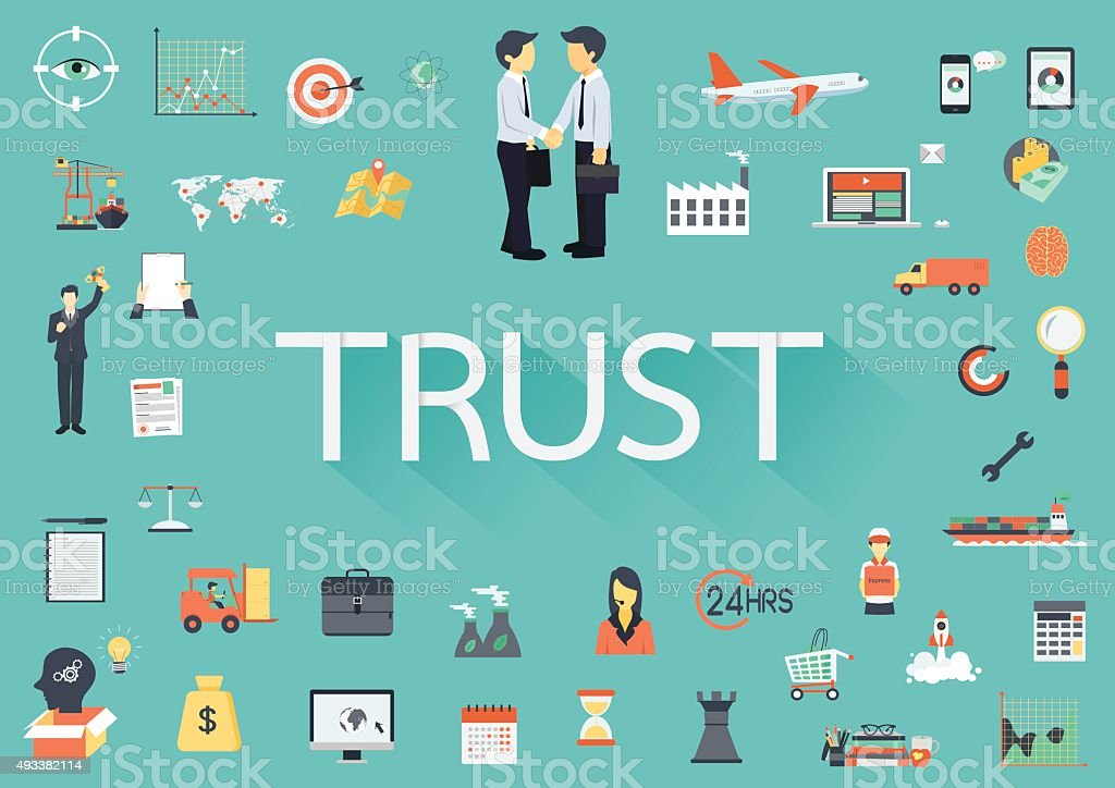 The word TRUST with long shadow vector art illustration