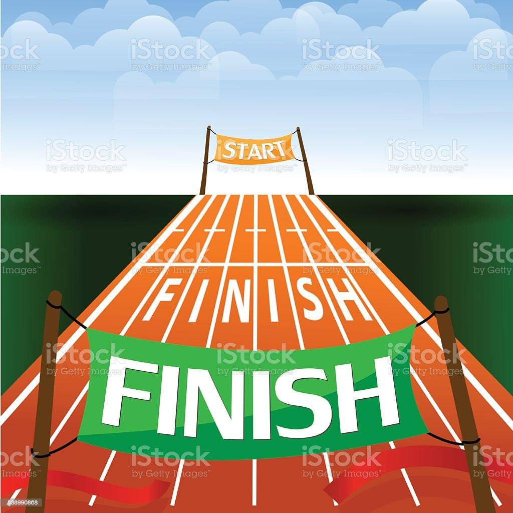 the words start and finish. Stock vector illustration. vector art illustration