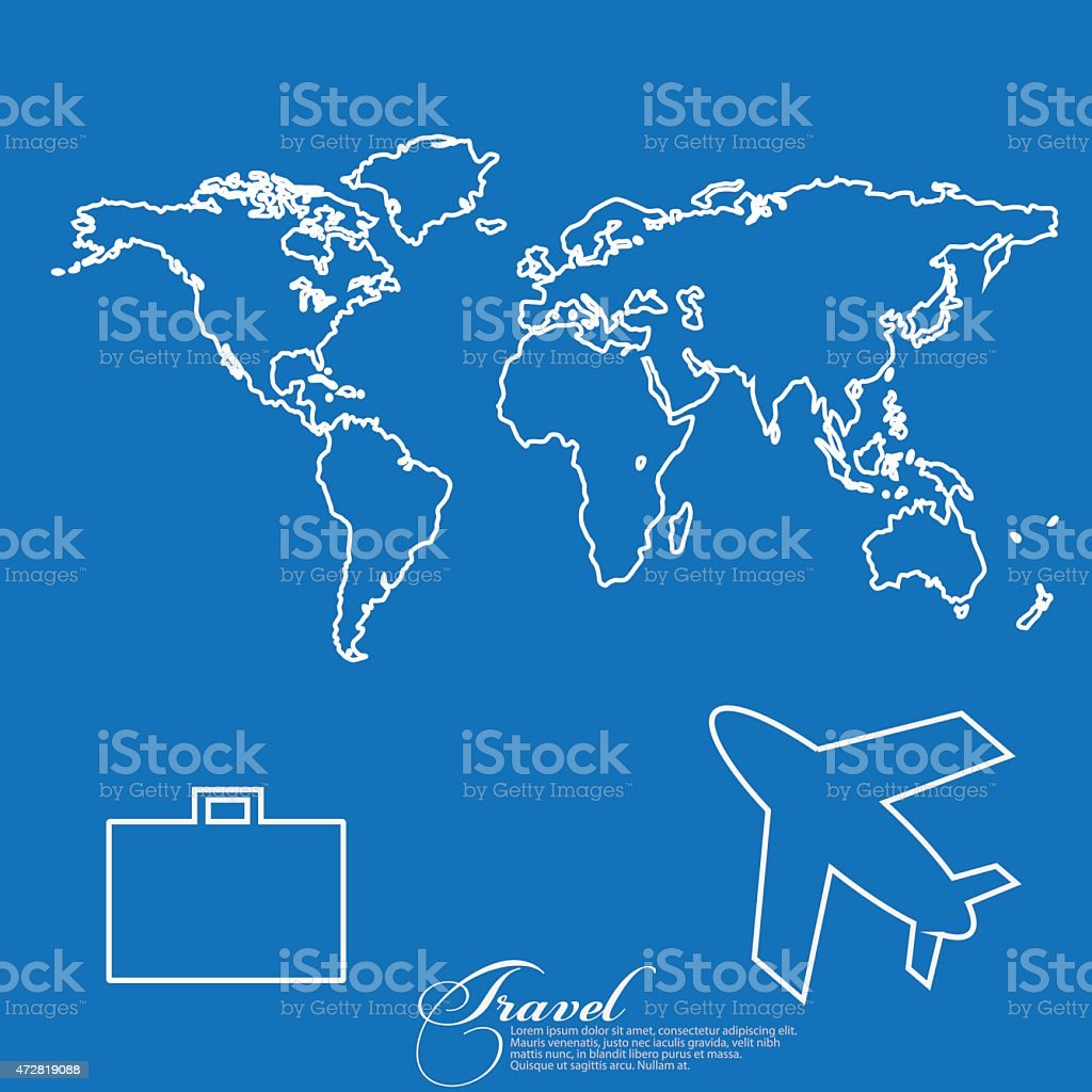 Travel the world map airplane backpack stock vector art 472819088 travel the world map airplane backpack royalty free stock vector art gumiabroncs Images