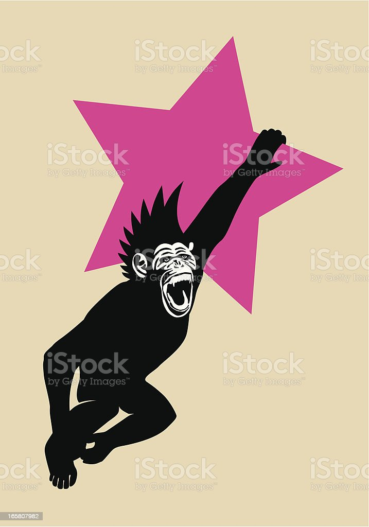 The Year of The Monkey Chimp Hanging from Red Star vector art illustration