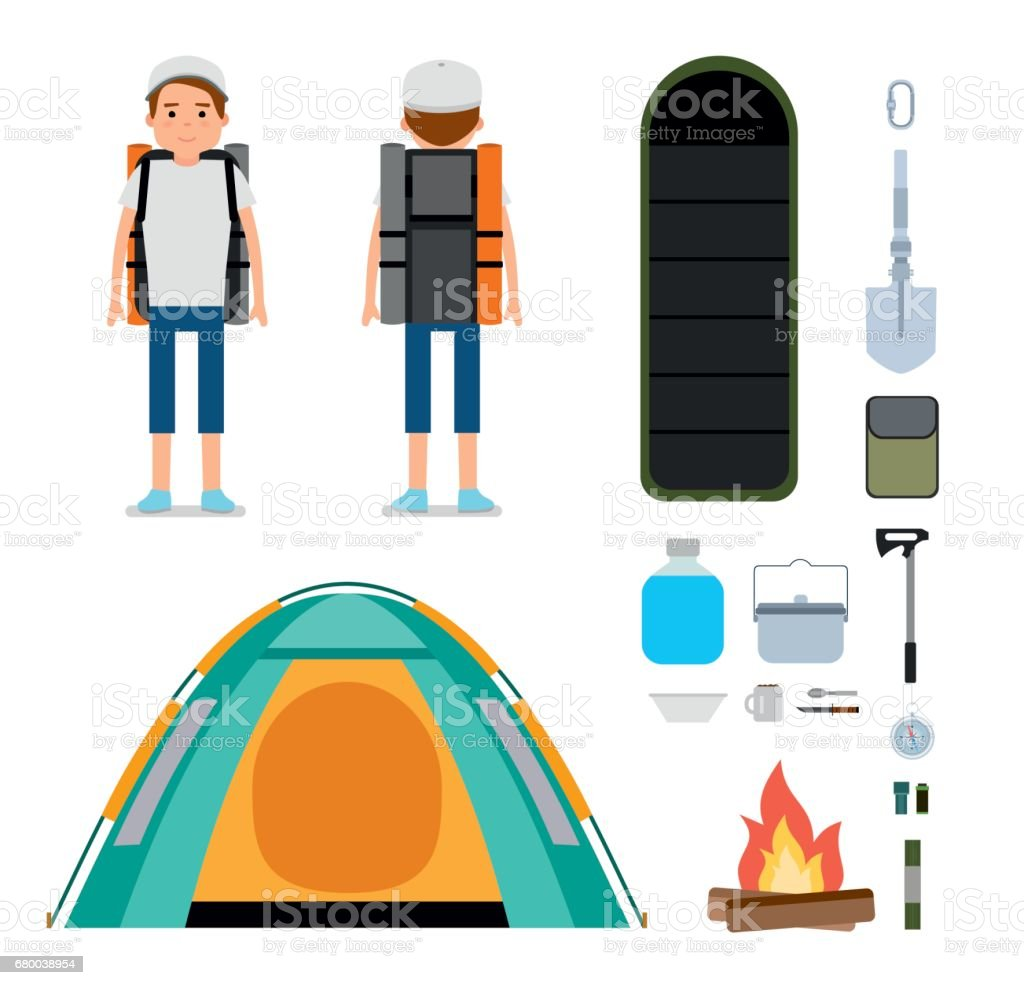 The young traveler. Set of Camping icons and elements. vector art illustration