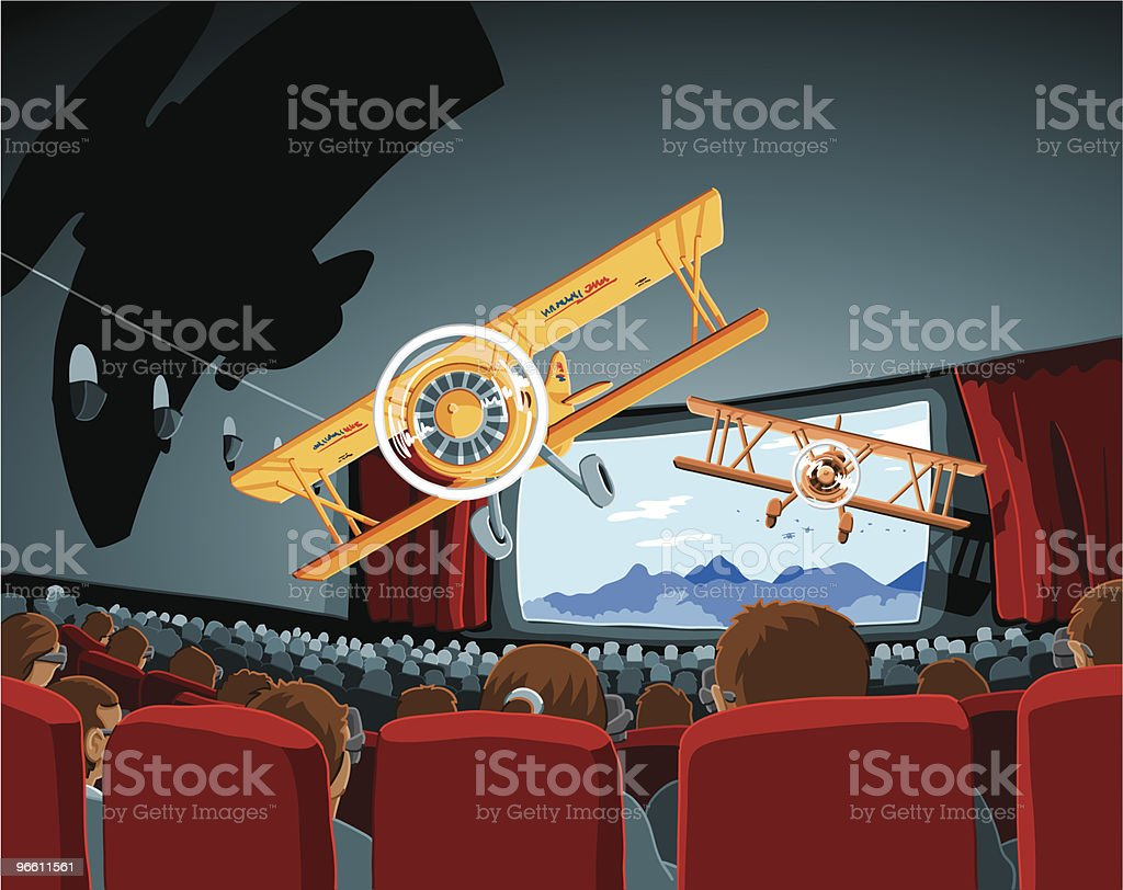 Theater 3D Movie Biplanes vector art illustration