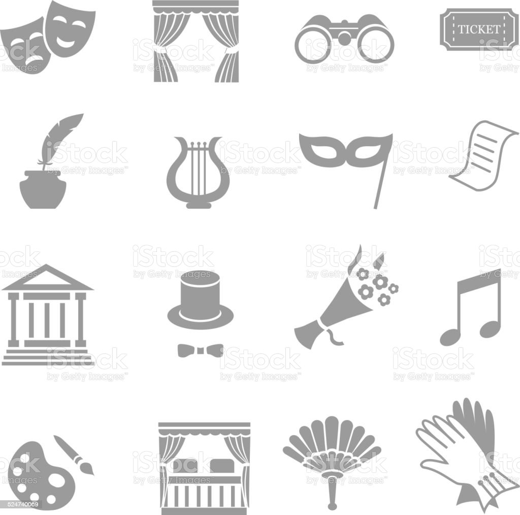 Theater acting  icons set black vector vector art illustration