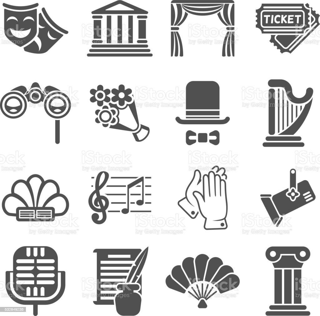 Theater acting vector black icons vector art illustration