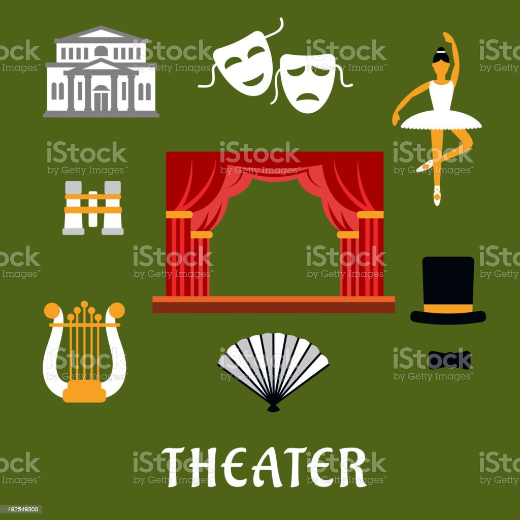 Theater and art flat icons vector art illustration