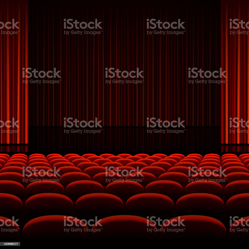 Theater auditorium with red curtains and seats vector art illustration