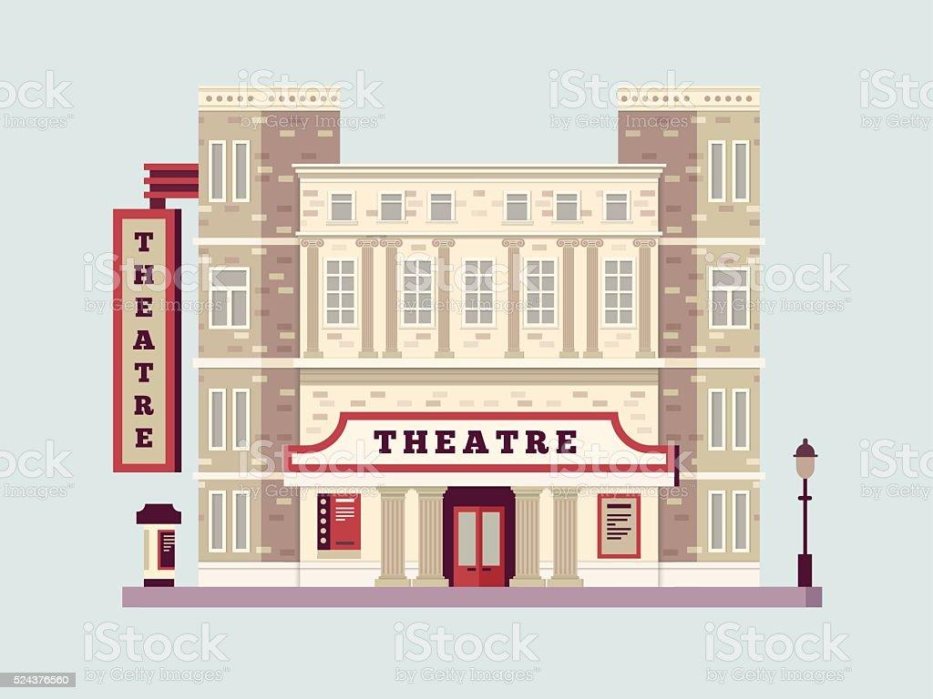 Theater building design flat vector art illustration