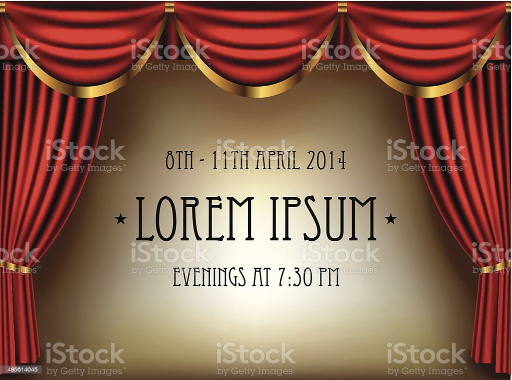 Theater curtains banner vector art illustration