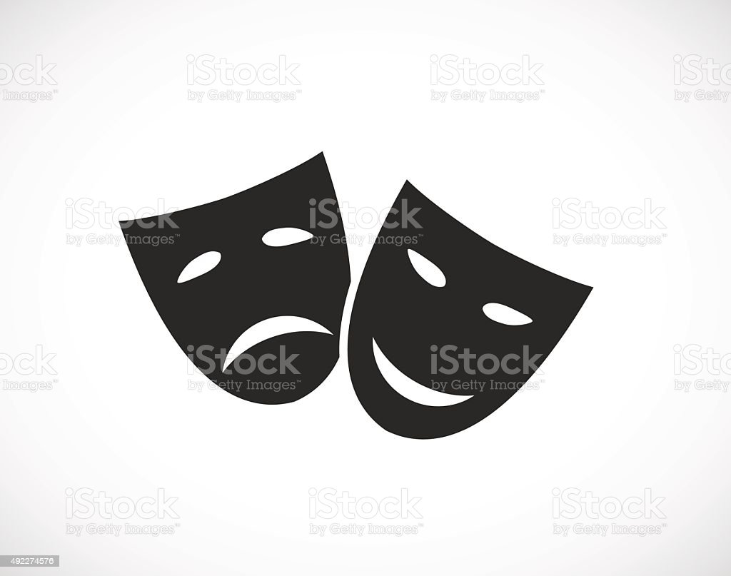 theater human mask icon vector art illustration