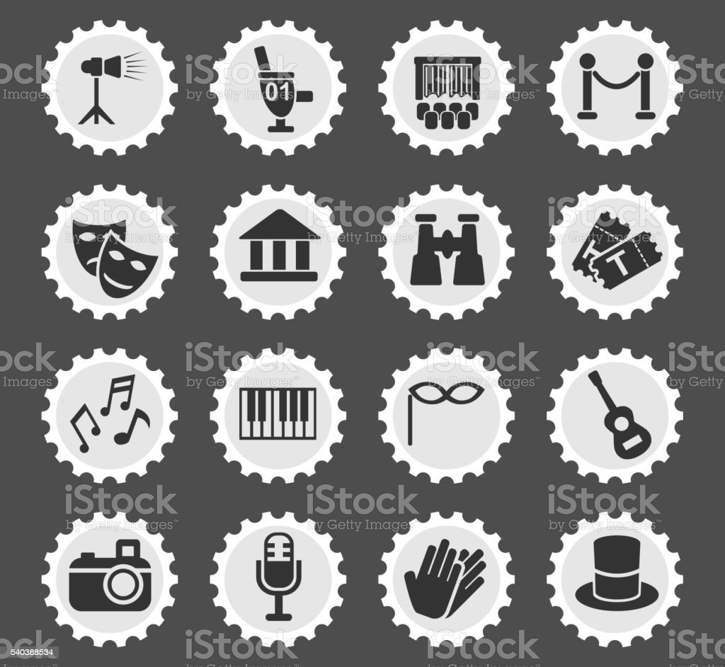 theater icon set vector art illustration