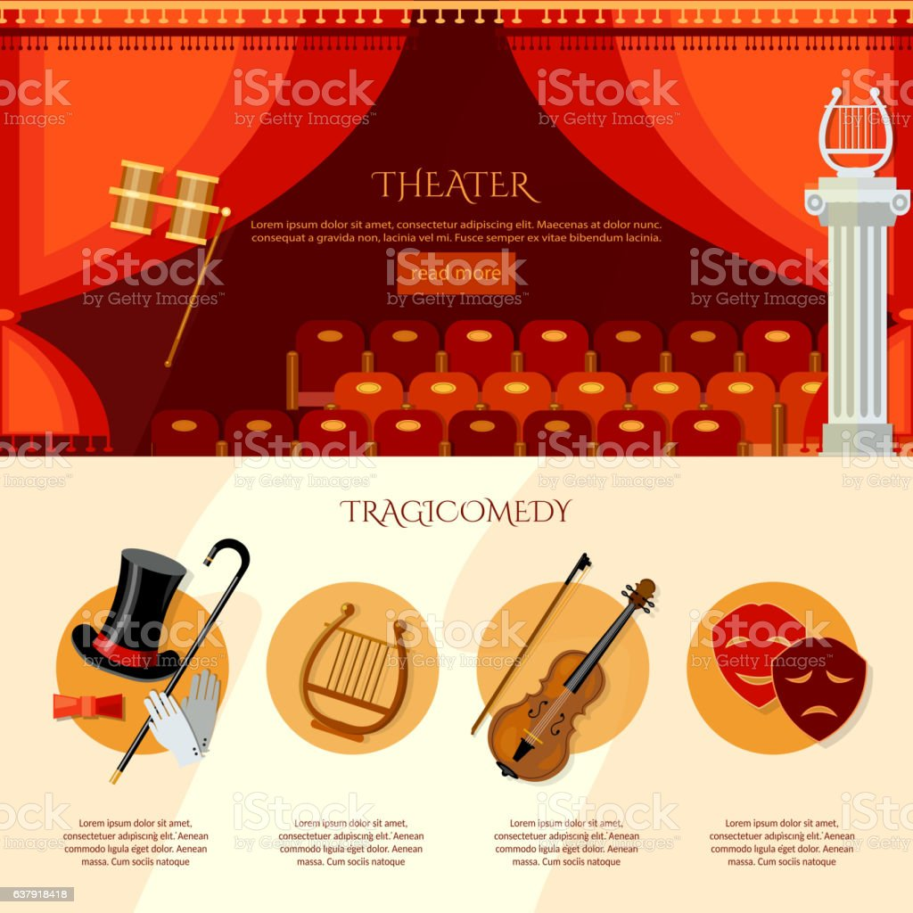 Theater infographics, comedy and tragedy vector art illustration