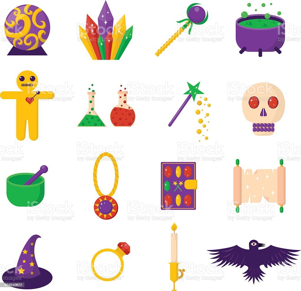Theater magic icon set trick star surprise entertainment collection wizard vector art illustration