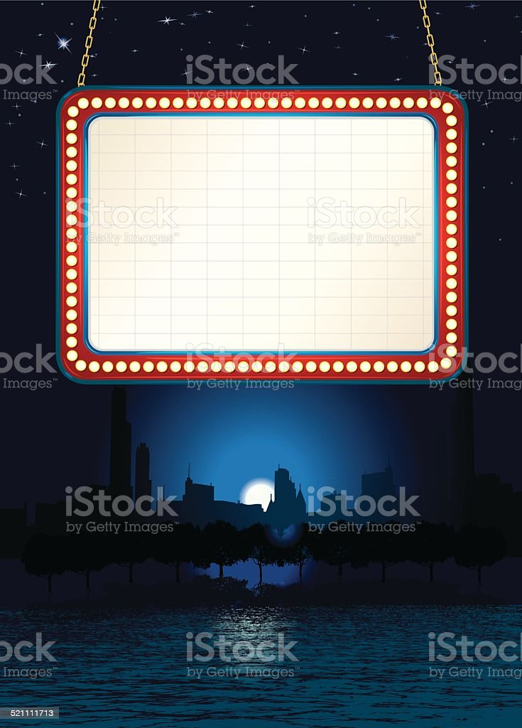 Theater Marquee Chicago City Night Background vector art illustration