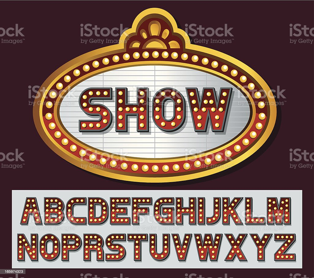 Theater marquee font series vector art illustration