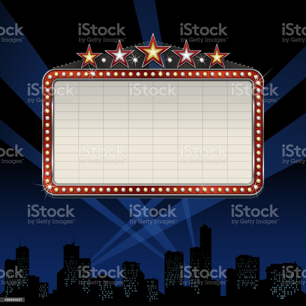 Theater marquee over cityscape royalty-free stock vector art
