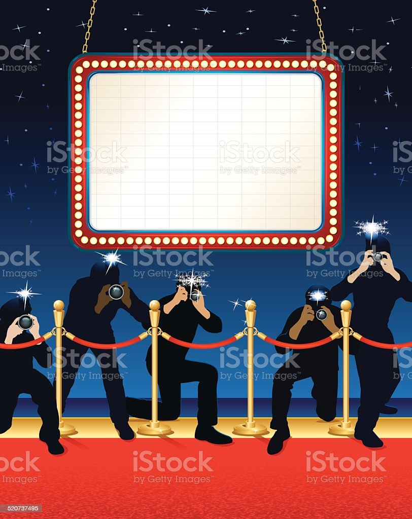 Theater Marquee Paparazzi Background vector art illustration