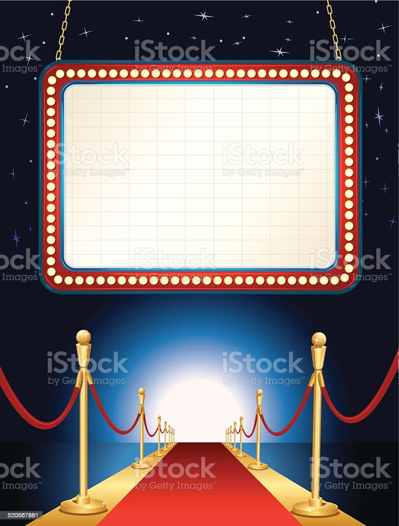Theater Marquee Red Carpet Background vector art illustration