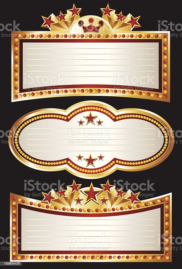 Theater Marquee Set vector art illustration