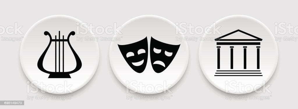 Theater masks and harp icons vector art illustration