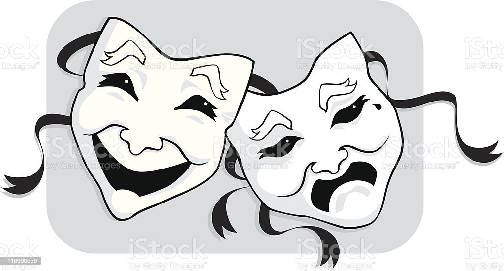 Theater Masks (Comedy and Tragedy) vector art illustration