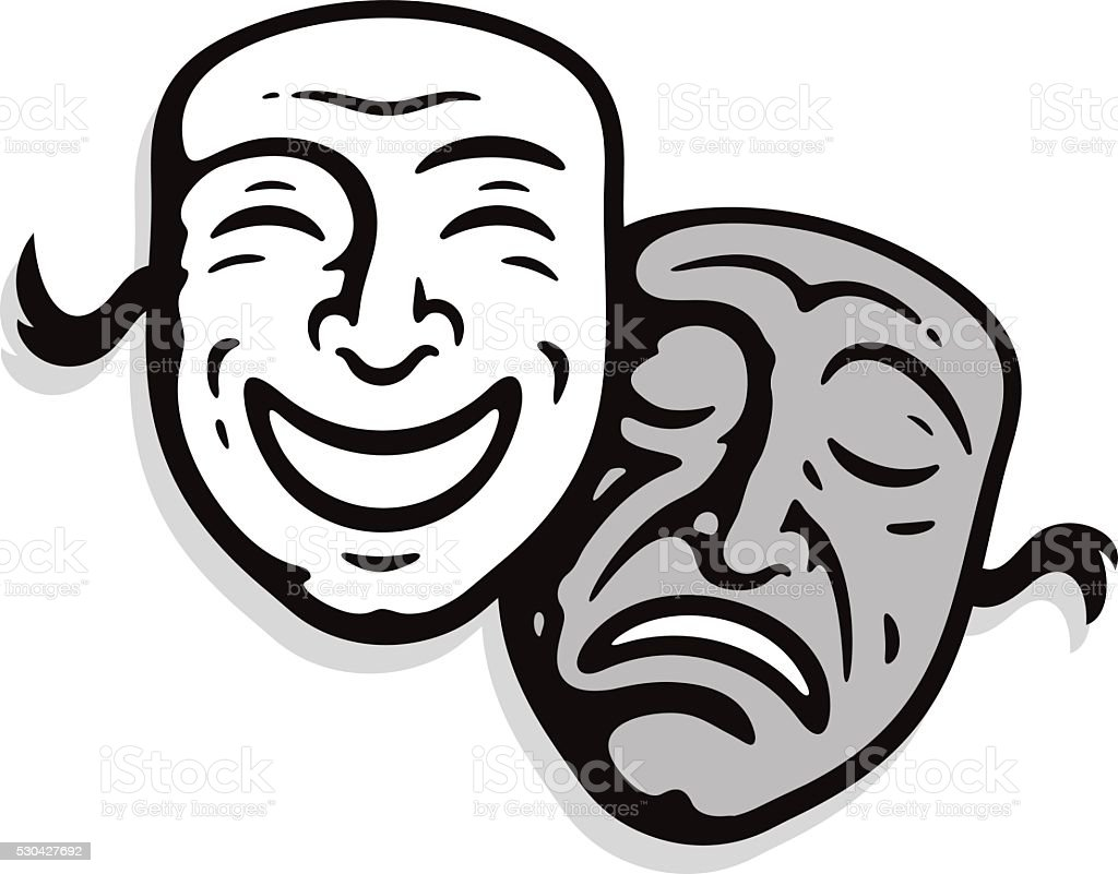 Theater masks vector art illustration