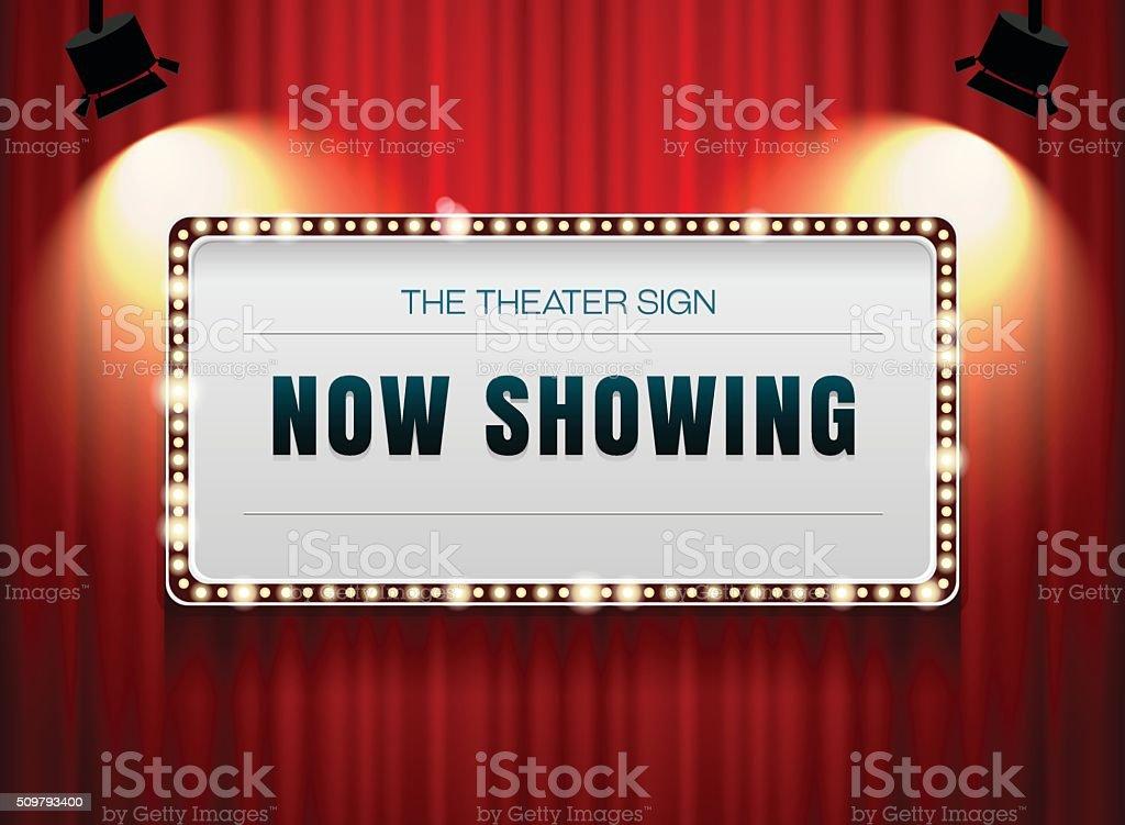 theater sign on curtain vector art illustration