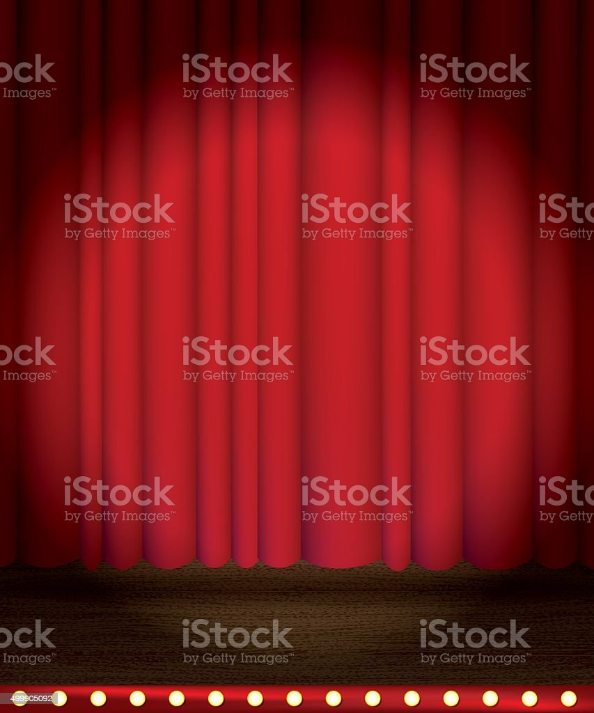 Theater Stage Curtain with Spotlight Background vector art illustration